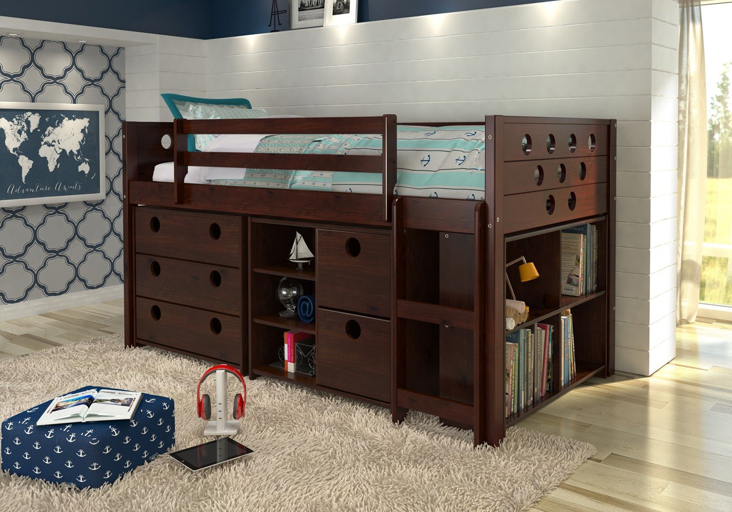 Donco Kids Twin Circles Low Loft Bed- Cappuccino