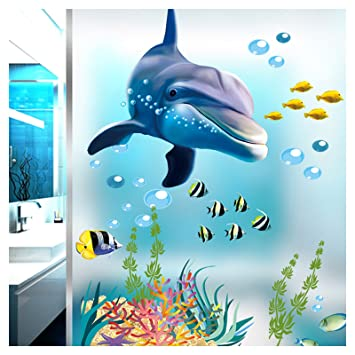 Grandora Wandtattoo Unterwasserwelt Delfin Fische Badewanne ...
