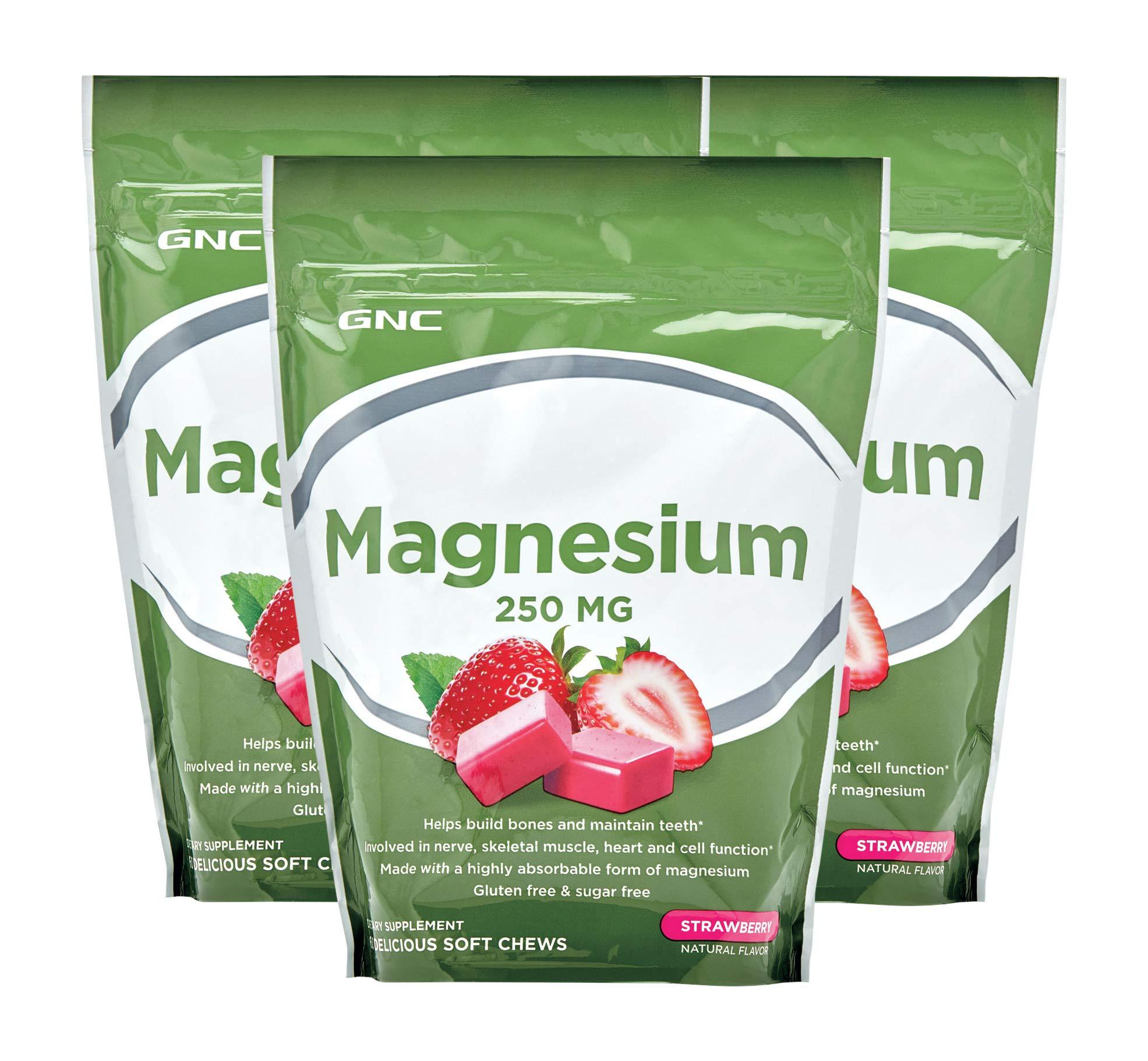 GNC Magnesium 250mg - Strawberry - 3 Pack