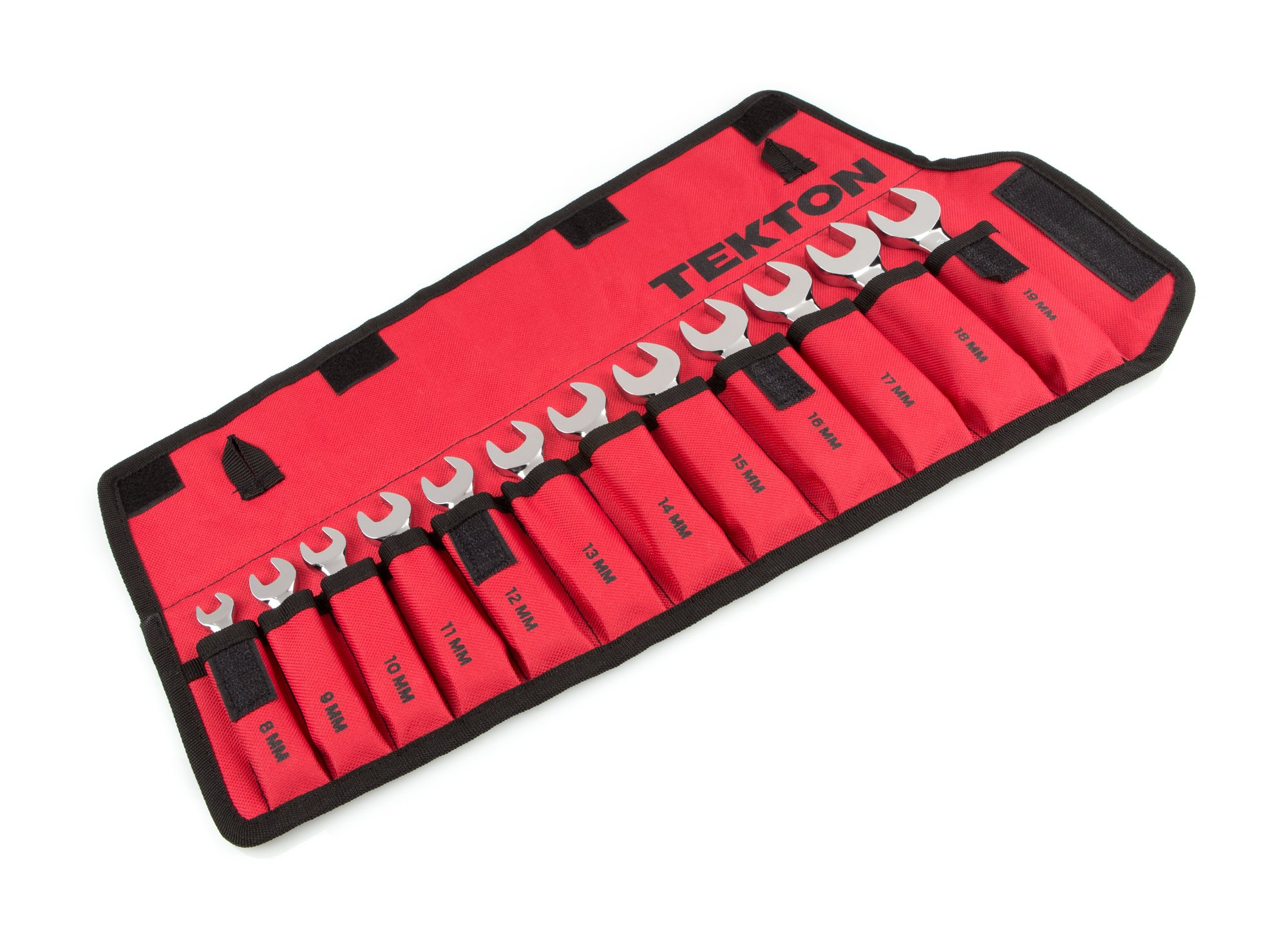 TEKTON WRN50190 Stubby Ratcheting Combination Wrench Set with Roll-up Storage Pouch, Metric, 8 mm - 19 mm, 12-Piece