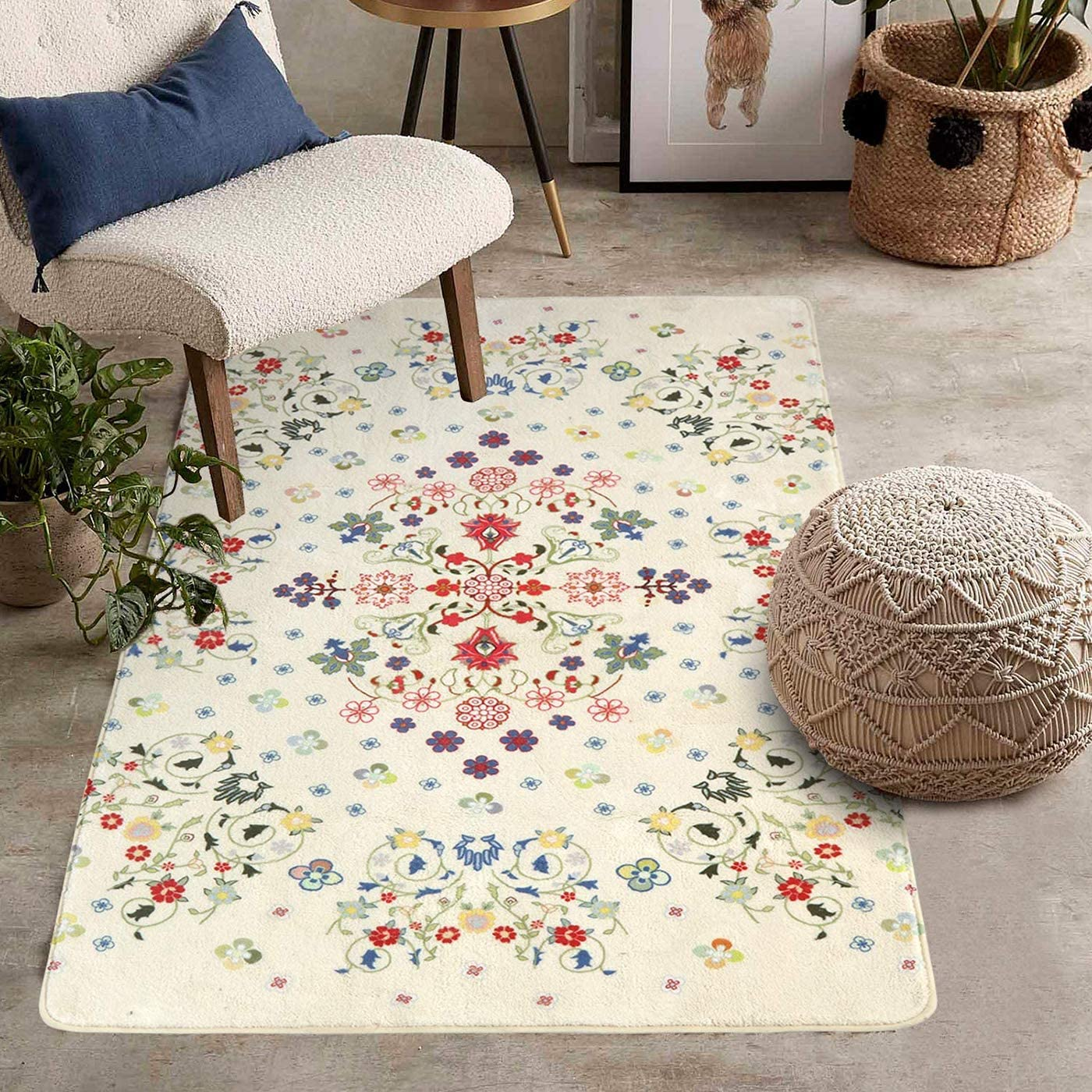 Uphome Rustic Floral Area Rug Carpets Large Beige Rectangle Throw Rugs Contemporary Romantic Country Style Floor Carpet Soft Velvet Non-Slip Washable Accent Rug for Runner Living Room Bedroom 3X5