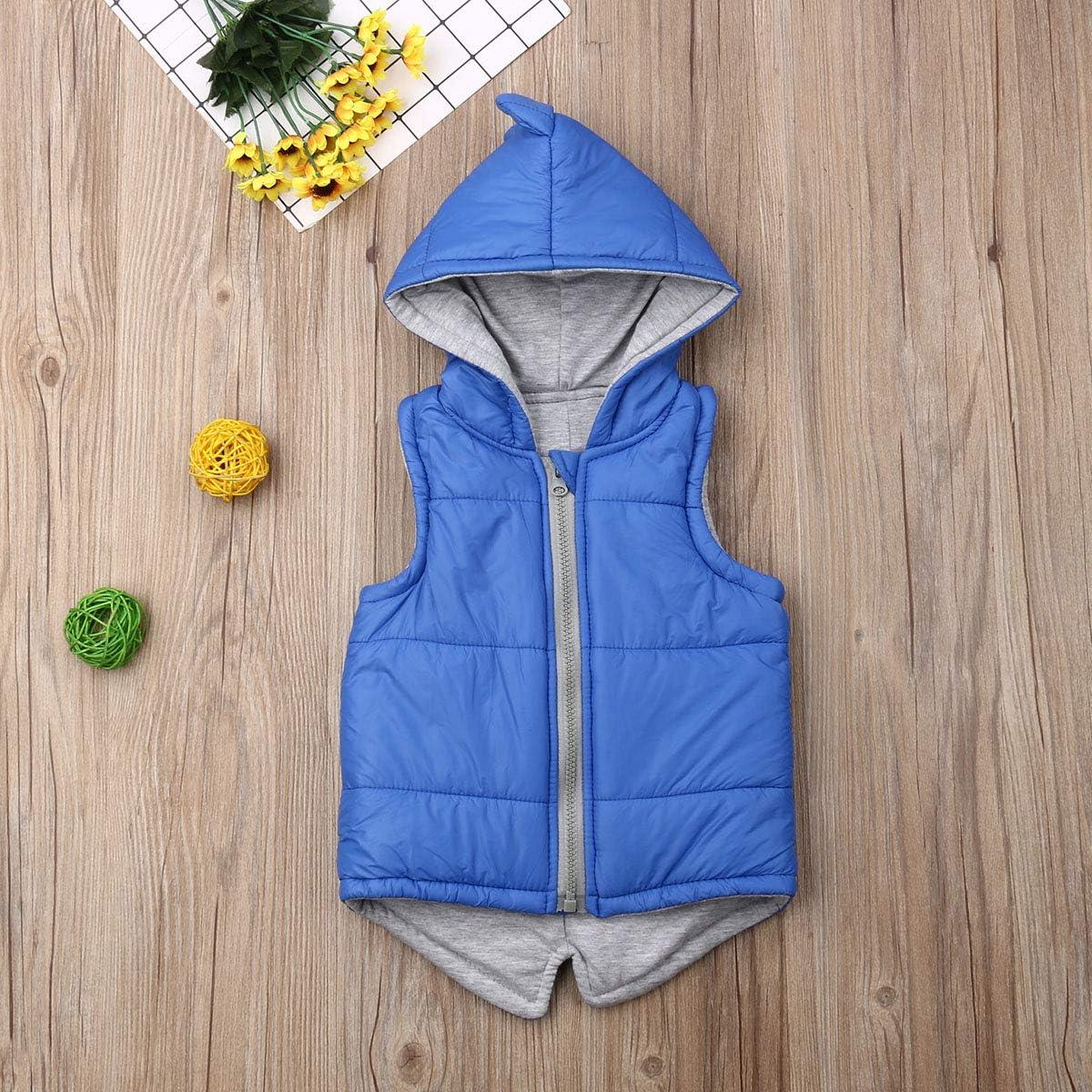 Toddler Baby Girl Boy Hoodies Vest Outwear 3D Dinosaur Sleeveless Waistcoat Warm Jacket Fall Winter Clothes