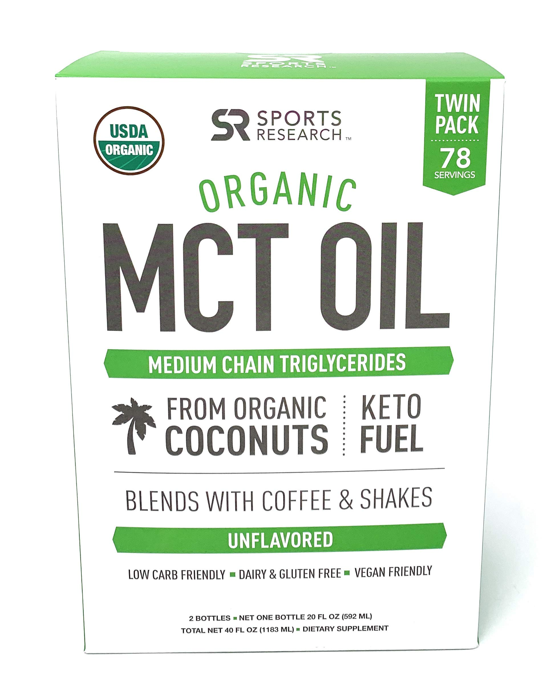 Organic MCT Oil derived from ONLY Coconut- 32oz | Great in Keto Coffee,Tea, Smoothies & Salad Dressings | Non-GMO Project Veified & Vegan Certified (Unflavored)(Twin Pack 2x20oz Bottle)