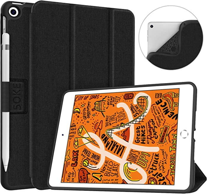 Soke iPad Mini 5 Case 2019 with Pencil Holder, Premium Trifold Case with Strong Protection, Ultra Slim Soft TPU Back Cover with Auto Sleep/Wake Function for Apple iPad Mini 5th Gen,Black