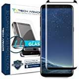 Samsung Galaxy S8 Glass Screen Protector from Tech Armor, 3D Curved Ballistic Glass, CASE-FRIENDLY, Black - [1-Pack]