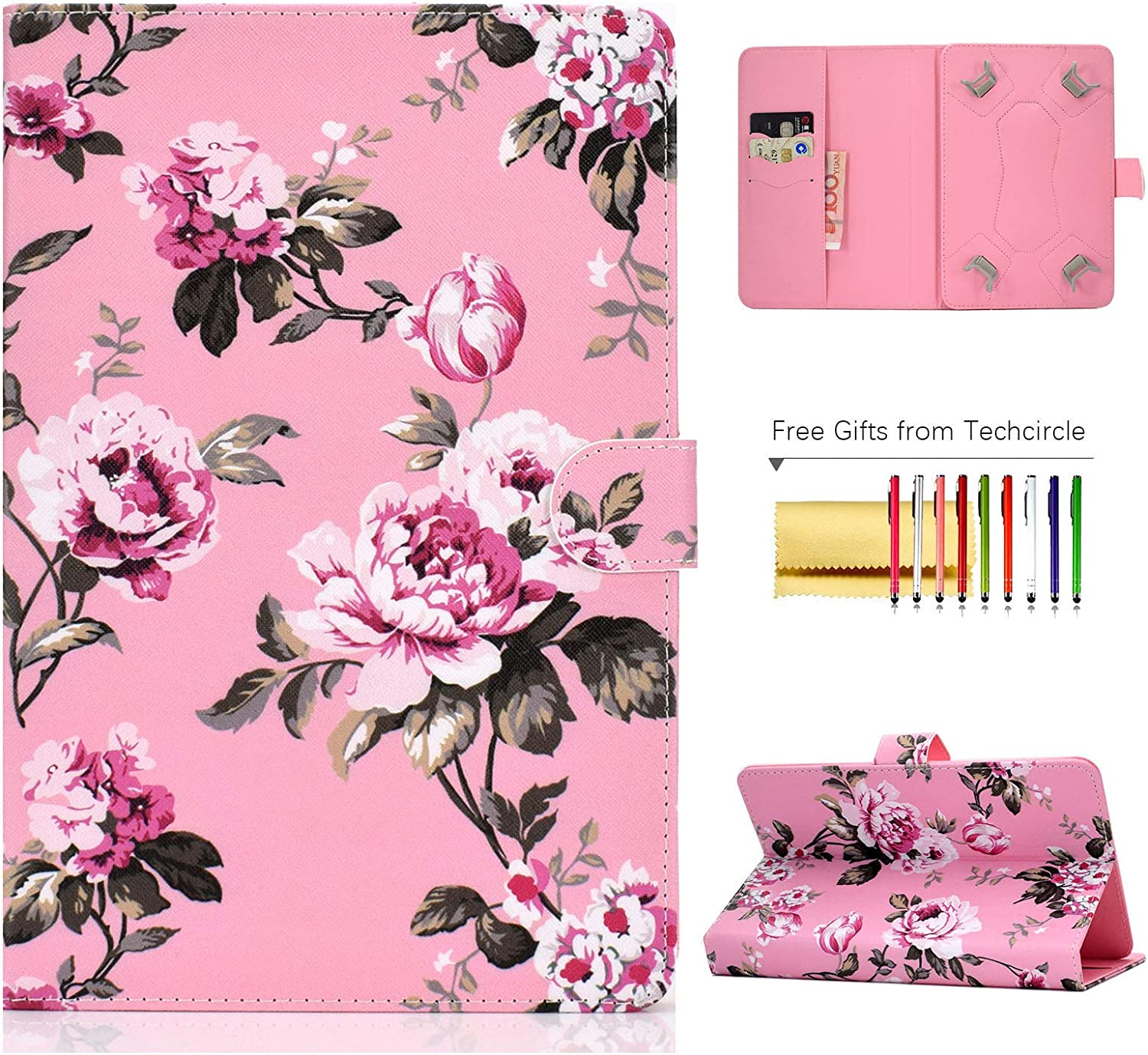 "Universal Folio Cover for 8 inch Tablet, Techcircle Stand Wallet Case for LG G-Pad F2/X2 8.0, Fire HD 8, Galaxy Tab 8.0"", iPad Mini 1/2/3/4/5, Huawei MediaPad 8.4"", ASUS ZenPad 8.0"", Pink Flowers"