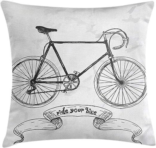 Funda de cojín para bicicleta Lunarable con texto en inglés