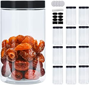 25oz Plastic Jars With Lids, Airtight Container for Food Storage, Clear Plastic Jars Ideal For Dry Food,Honey and Jam Storage,12 Pack