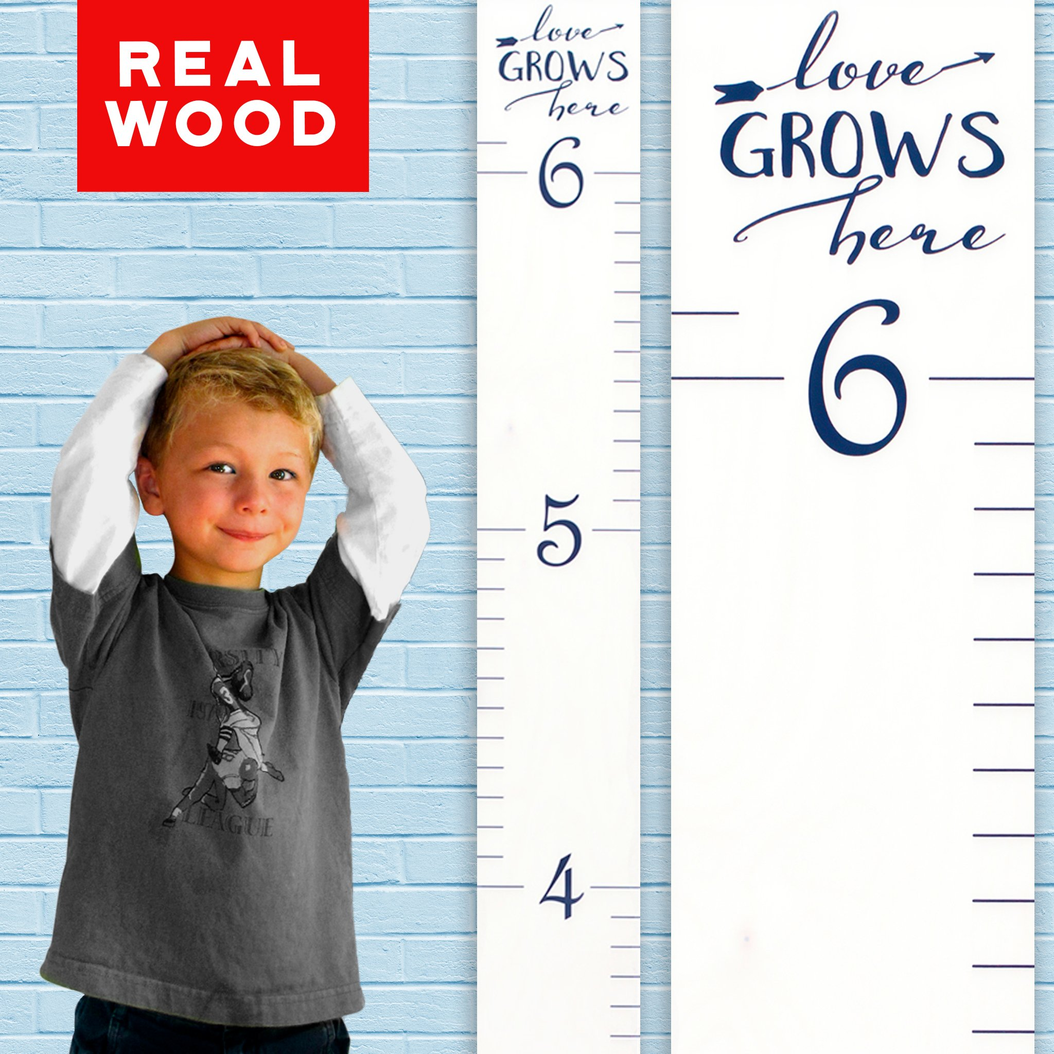 Growth Chart Art | Wooden Growth Chart Ruler Kids Height Chart for Boys + Girls | Measuring Kids Height Wall Décor | White with Navy Numerals and Saying ''Love Grows Here'' by Growth Chart Art