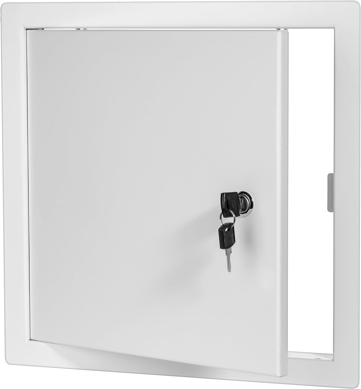 Premier 2002 Series Steel Access Door, 24 x 24 Flush Universal Mount, White (Keyed Cylinder Latch)