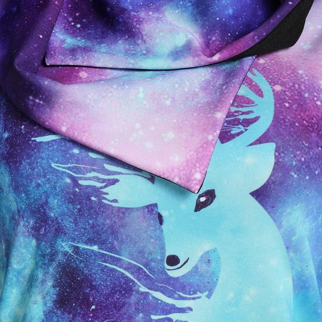 VECDUO Womens Plus Size Long Sleeve Christmas Elk Print Hooded Sweater Night Sky Sweatshirt Top