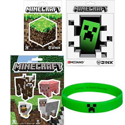 Amazon.com: Minecraft pegatinas & pulsera de hule Creeper ...
