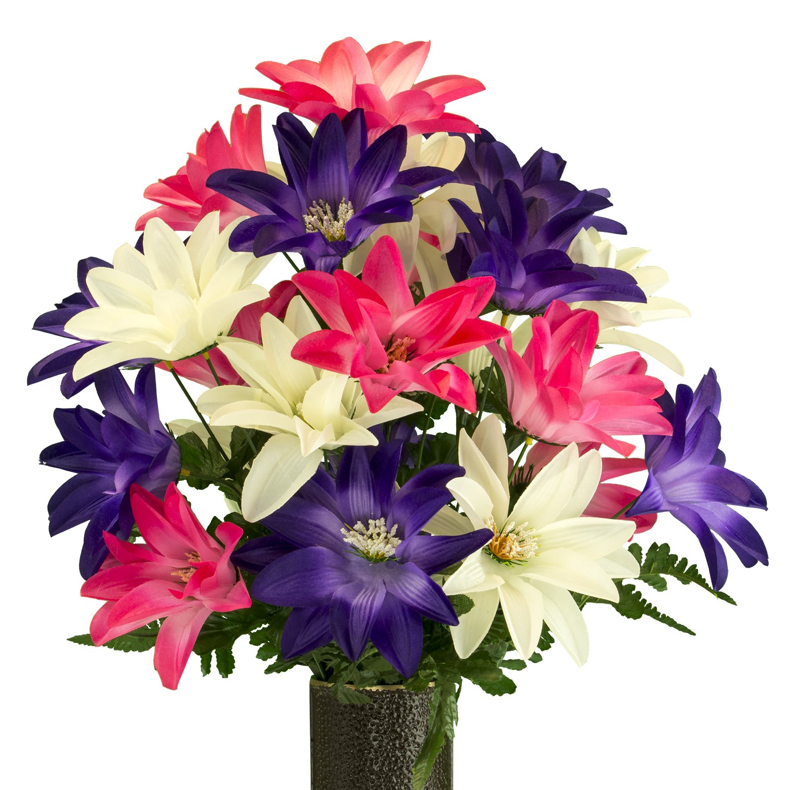 Pink-White-Purple-Dahlia-Artificial-Bouquet-featuring-the-Stay-In-The-Vase-Designc-Flower-Holder-MD2076