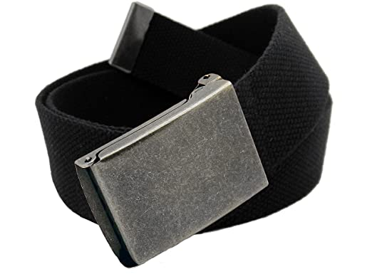 Women s Distressed Silver Flip Top Military Belt Buckle with Canvas Web Belt  Small Black f97801249a5