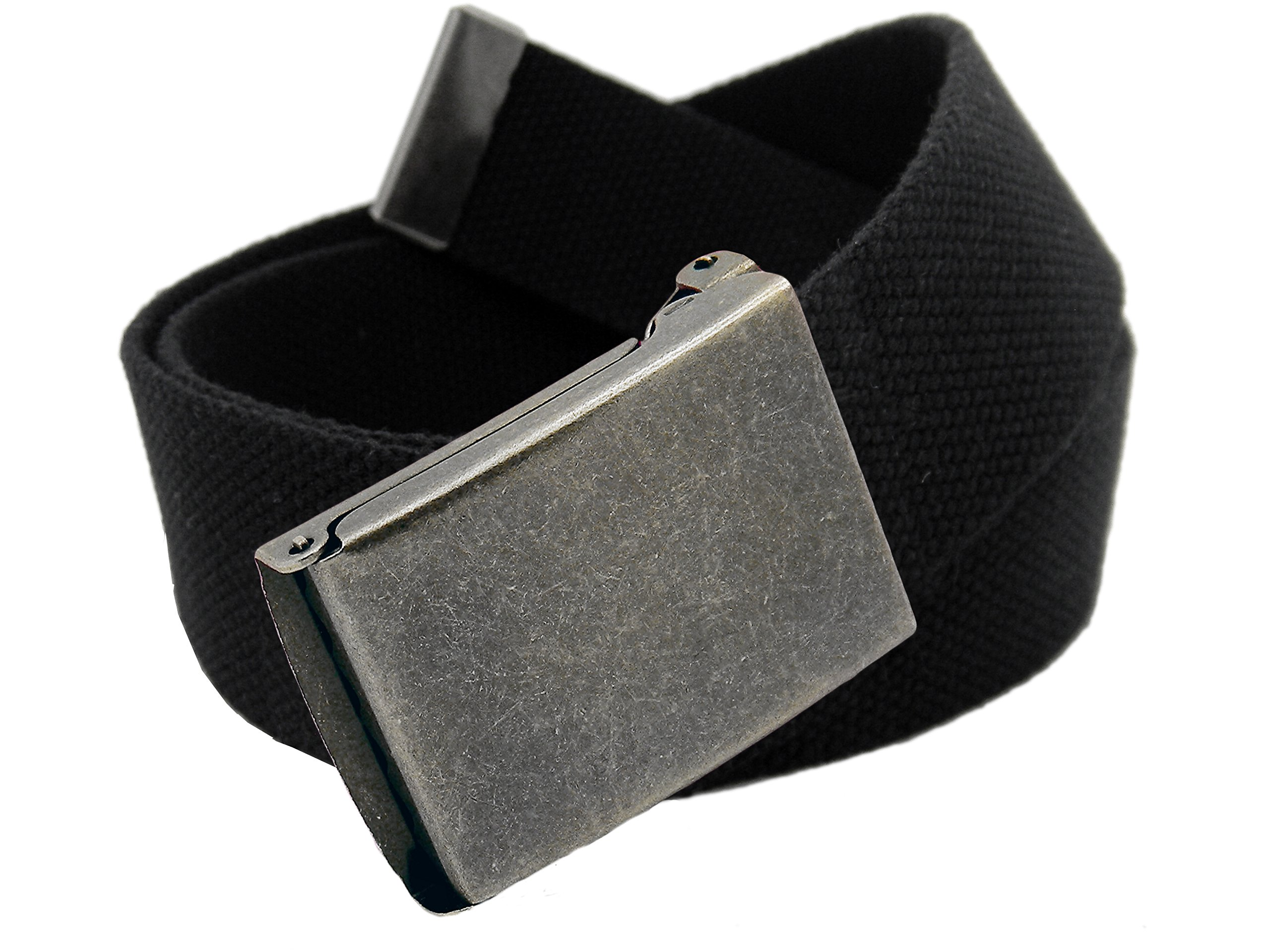 Women's Distressed Silver Flip Top Military Belt Buckle with Canvas Web Belt XX-Large Black