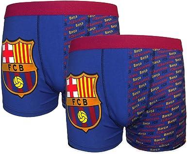 FC Barcelone Officiel Football Cadeau Pack de 2 garçons Crest Boxer Shorts