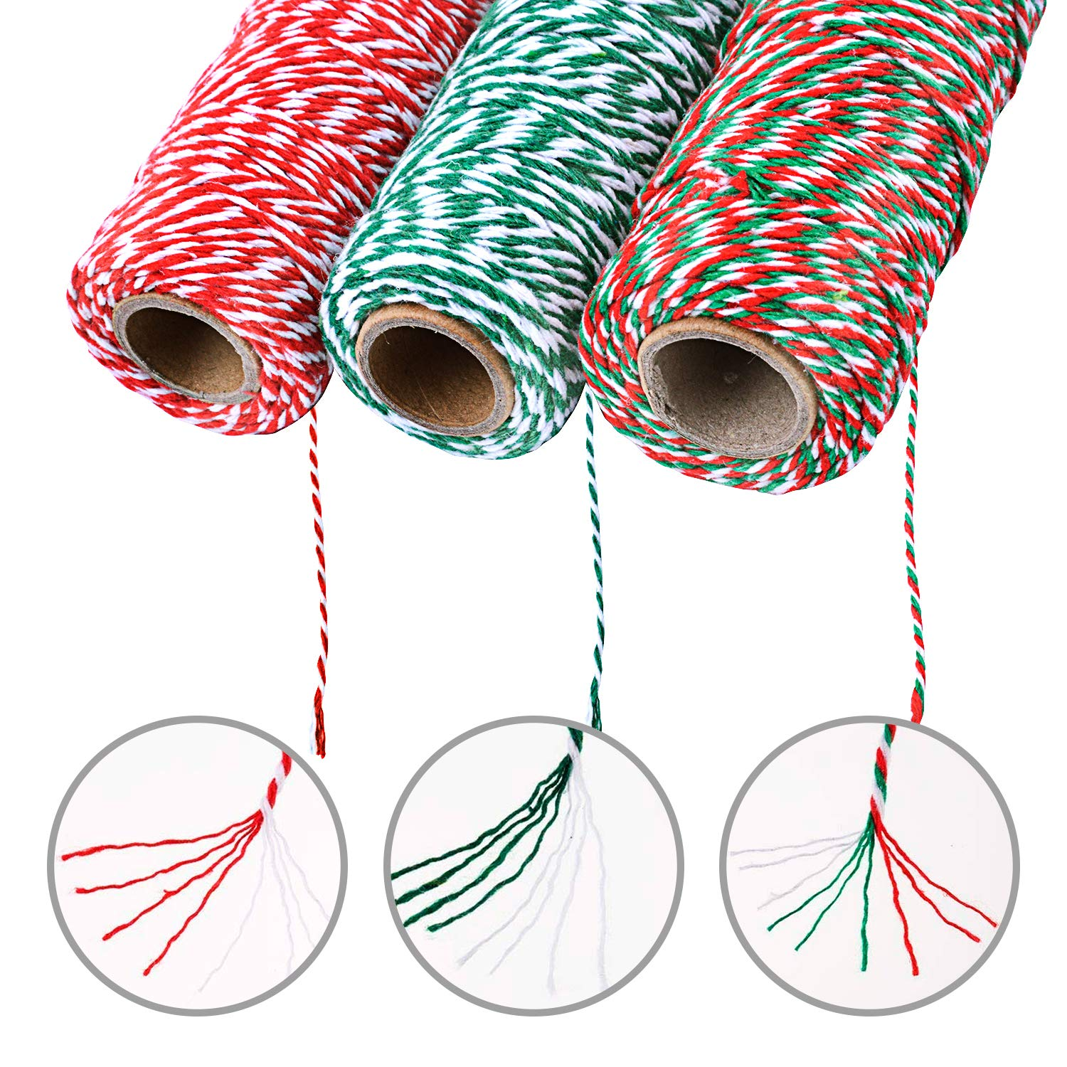 Style1 3 Pieces 2 mm Cotton String,Christmas Twine for Gift Wrapping,Arts Crafts,492 Feet Totally,3 Colors