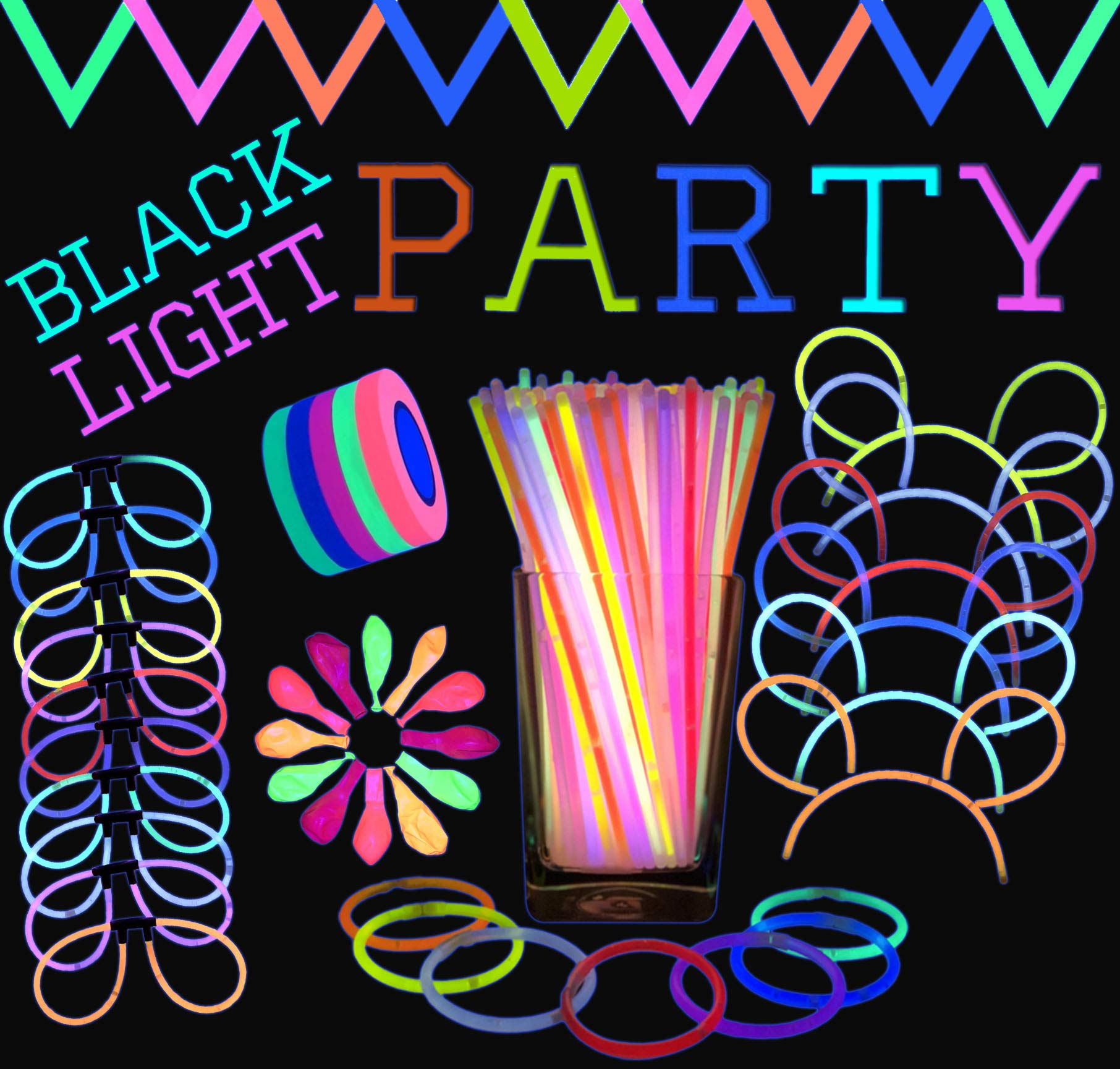 All-Inclusive Glow Party Supplies Bundle - 100 x 8'' Glow Sticks, 100 x Connectors, 25 x 11'' Blacklight Neon Balloons & 250ft of UV Reactive Decorative Tape | (Ultra Violet Light Required)