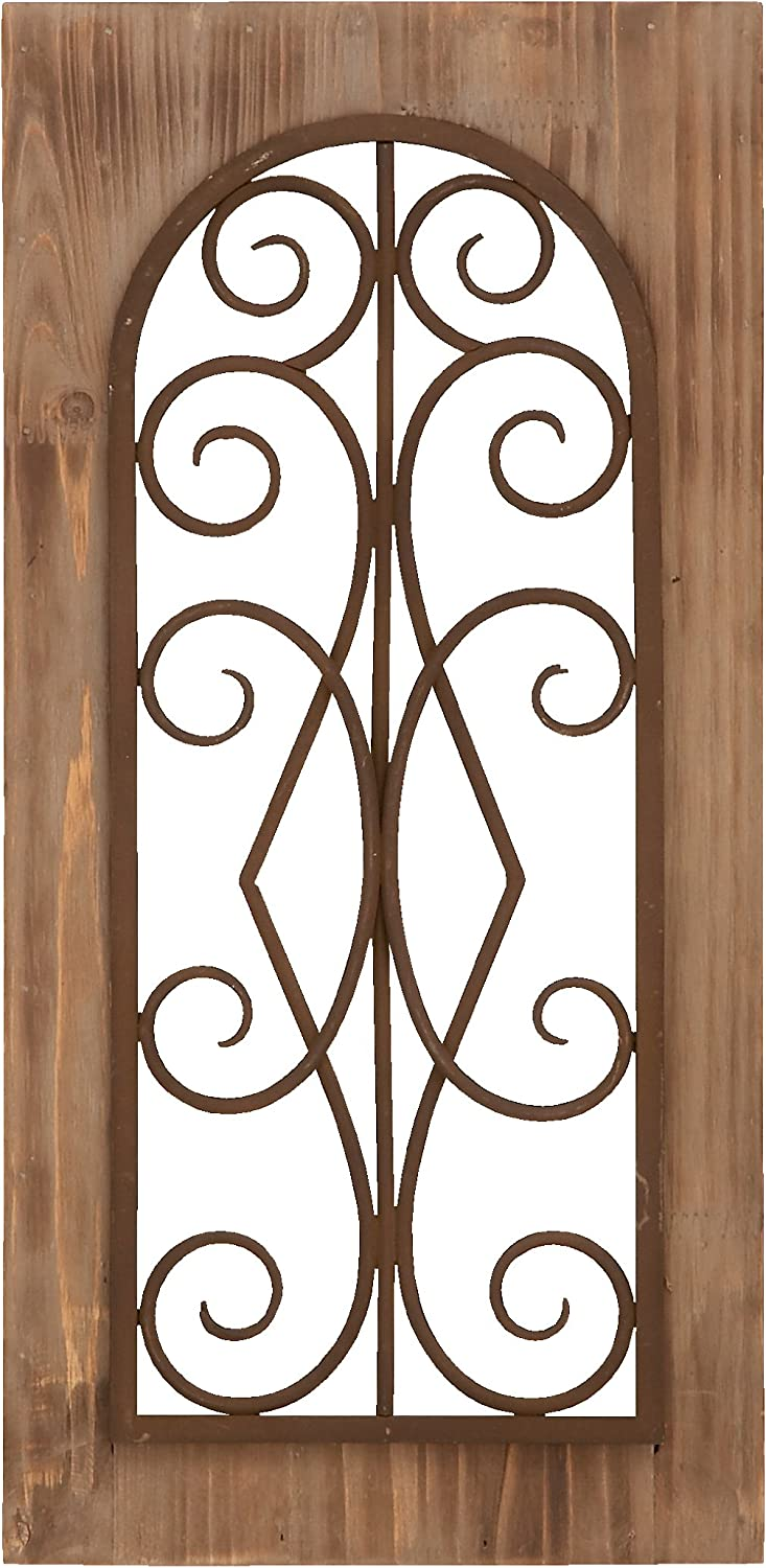 Deco 79 Wooden and Metal Wall Panel, Majestic Style with Tan Finish