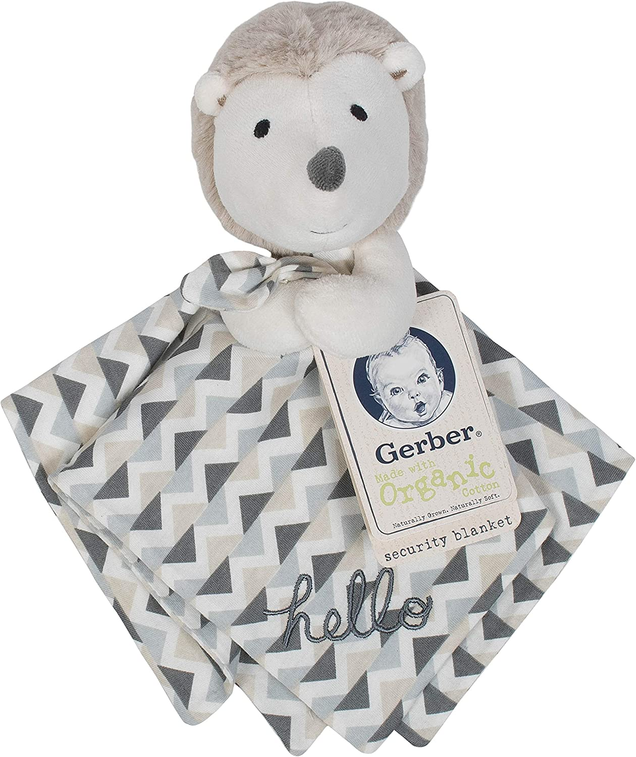 Gerber Organic Security Blanket Beige Hedgehog One Size