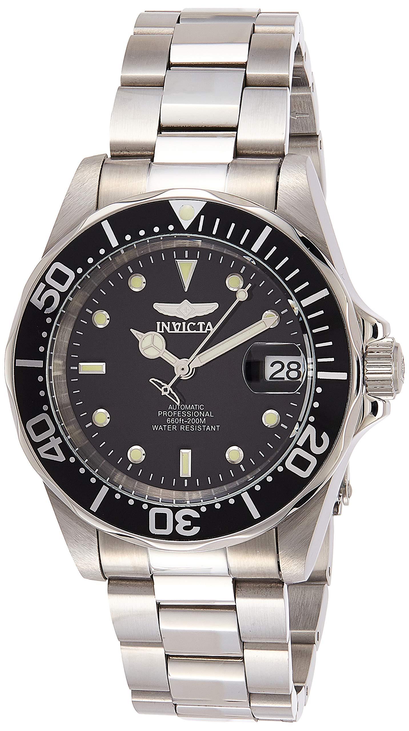 Invicta Men's 8926 Pro Diver Collection Automatic Watch, Silver-Tone/Black Dial/Half Open Back by Invicta