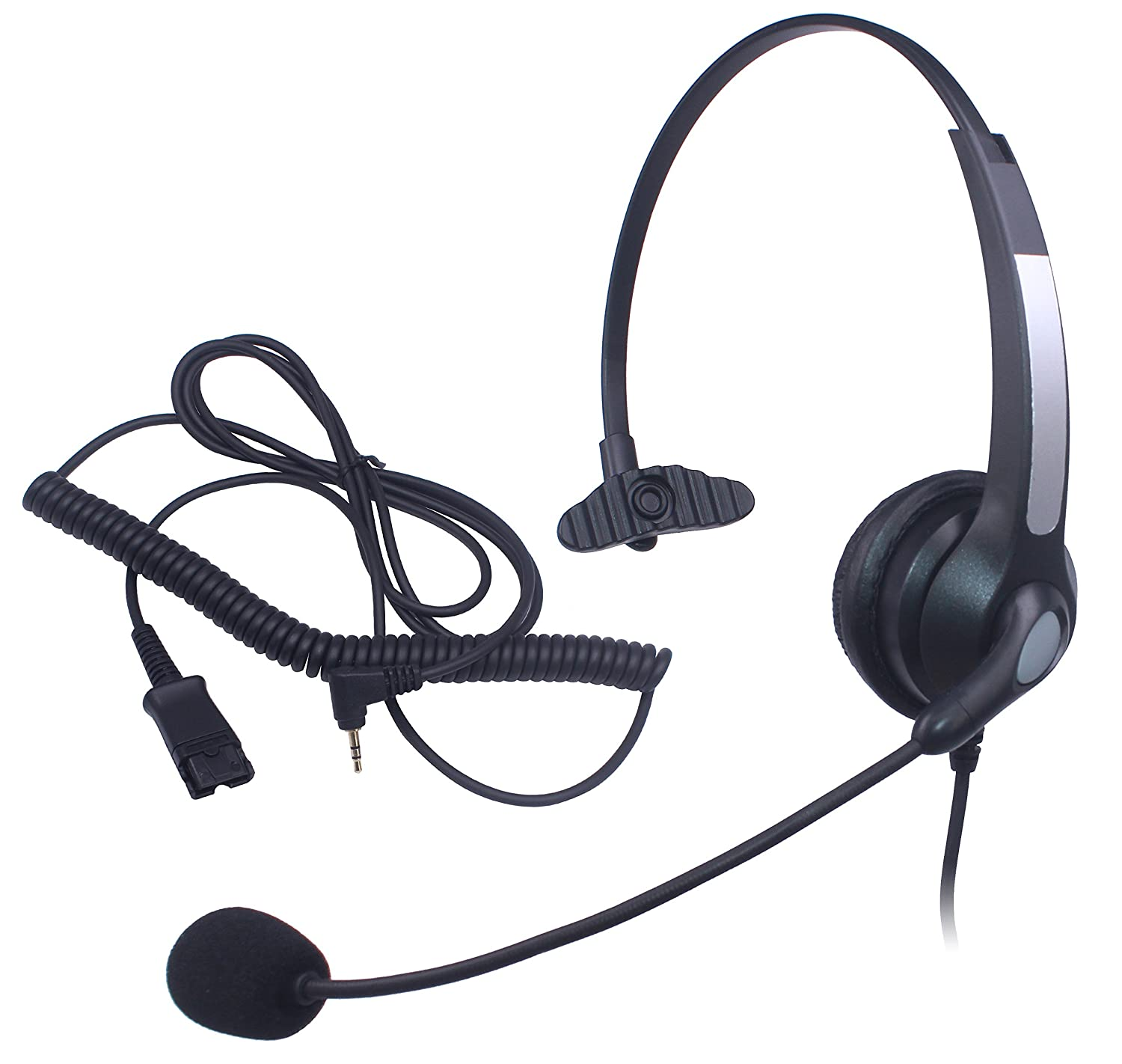Audicom 2.5mm Call Center Headset Headphone with Mic and Quick Disconnect for Cisco Linksys SPA SPA921 SPA922 SPA941 SPA942 SPA962 303 501G 502G 504G 508G 509G 525G Telephone IP Phones (H300QD25A)