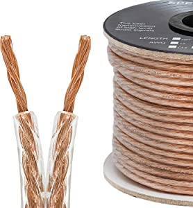 Cmple - 2 Conductor 14AWG Speaker Wire for Home Theater System, Amplifier, Car Audio Speaker Cable - 100 Feet, Clear