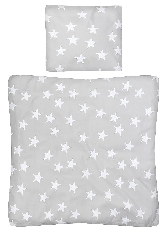 Aminata Kids – Babybettwäsche 80x80 cm Kinder Mädchen Sterne Sternchen Wiegenbettwäsche Baumwolle + Reißverschluss Wiegenset Rosa Rosé Altrosa Bettbezug Kinderwagenbettwäsche Kinderbettwäsche