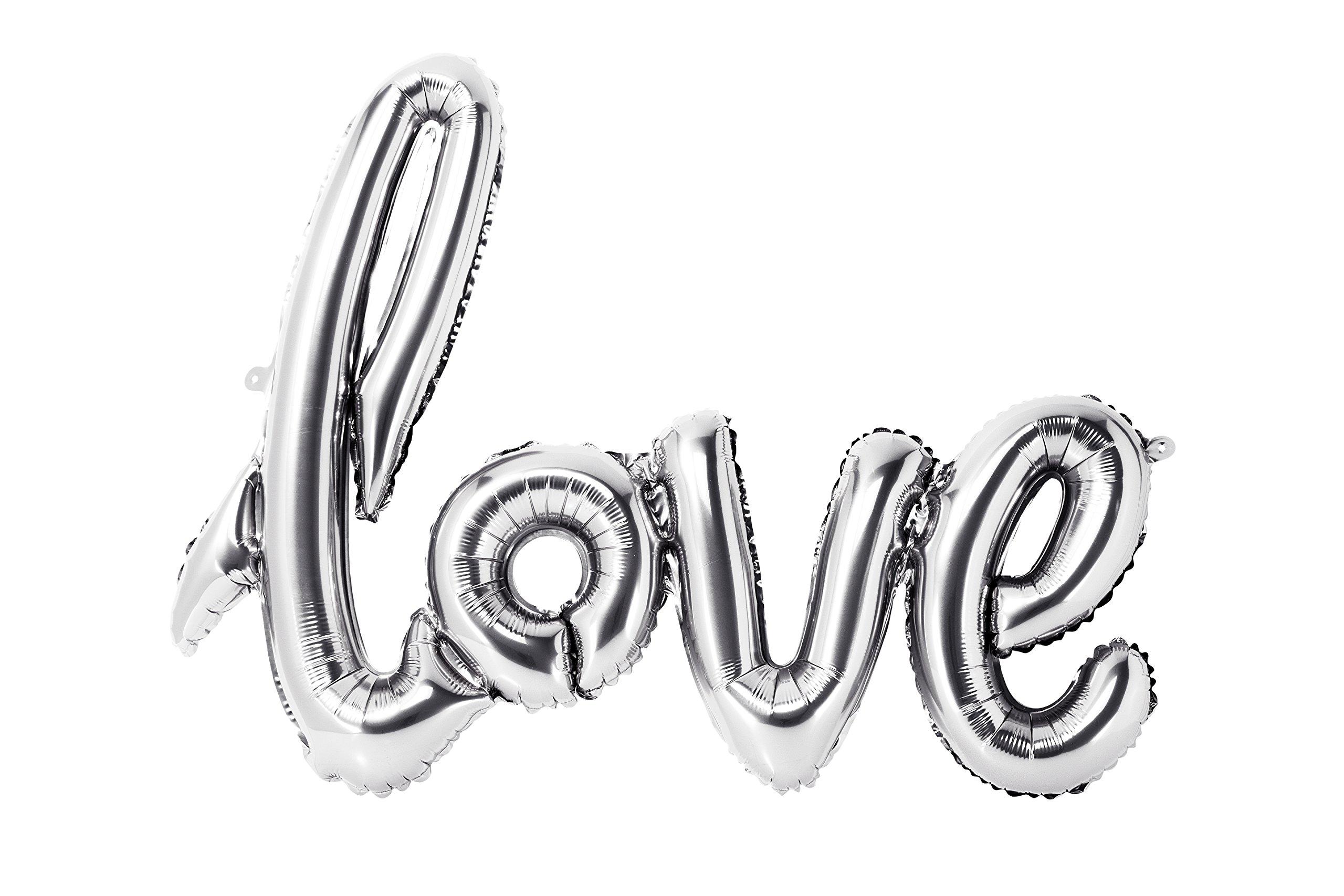 Talking Tables Modern Romance, Foil Love Balloon, Silver, H55 x W75cm