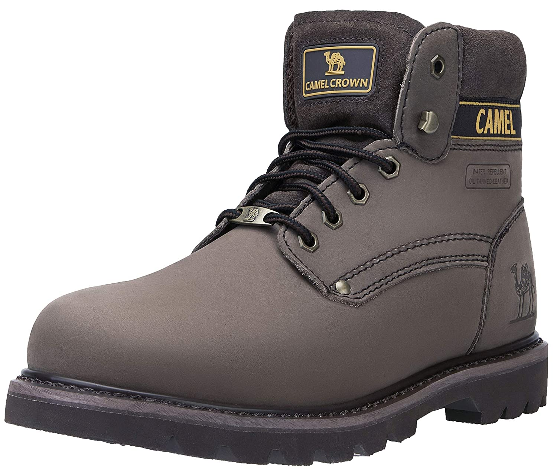 CAMEL CROWN Herren Damen Stiefel Arbeitsschuhe Kurzschaft Stiefel Leder Schuhe Klassische Schnürschuhe Stiefel Kurzschaft für Winter Herbst Kaffee f41a81