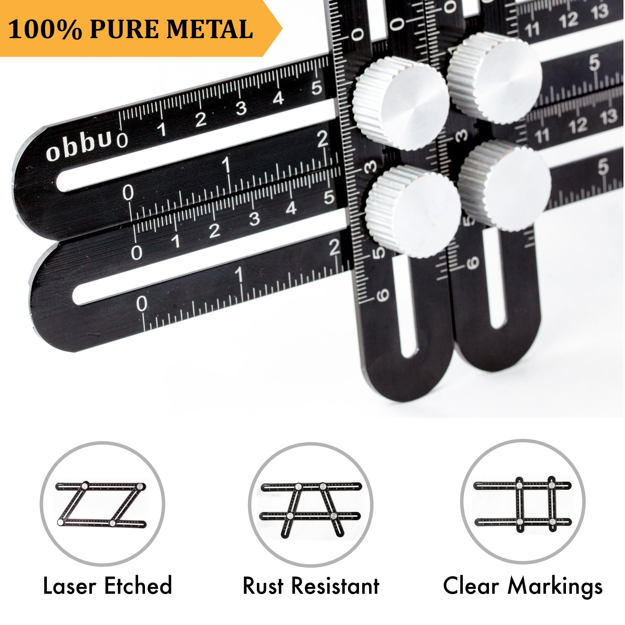 Obbu Universal Multi Angle Measuring Ruler – Premium Aluminum Metal – Angle Measuring Multi Tool – No Plastic – Laser Etched – Template Tool for Tool Box for Men – Gift for Handymen Crafts men (Black)
