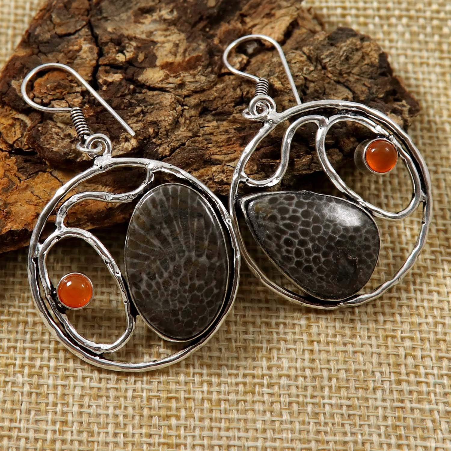 Goyal Crafts Fossil Coral Natural Gemstone Earring Silver Plated Jewelry GEG81