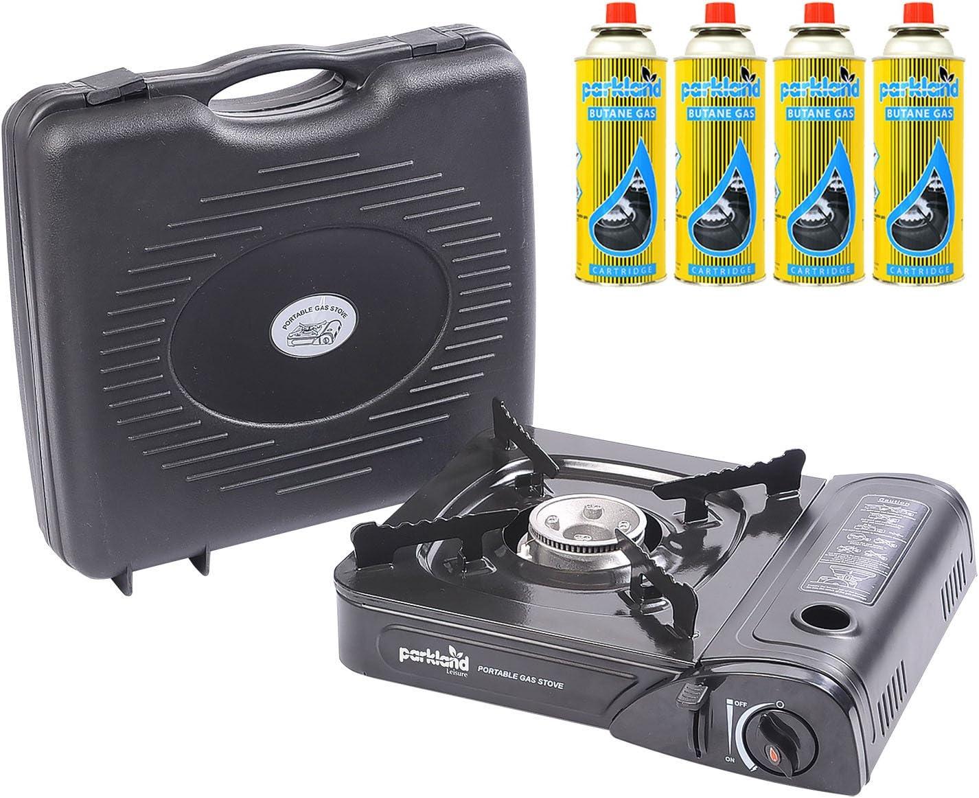 Parkland® - Estufa de gas de camping portátil con 4 recambios de gas