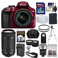 Nikon D3400 Digital SLR Camera & 18-55mm VR (Red) & 70-300mm DX AF-P Lenses with 32GB Card + Case + Flash + Battery & Charger + Tripod + Tele/Wide Lens Kit