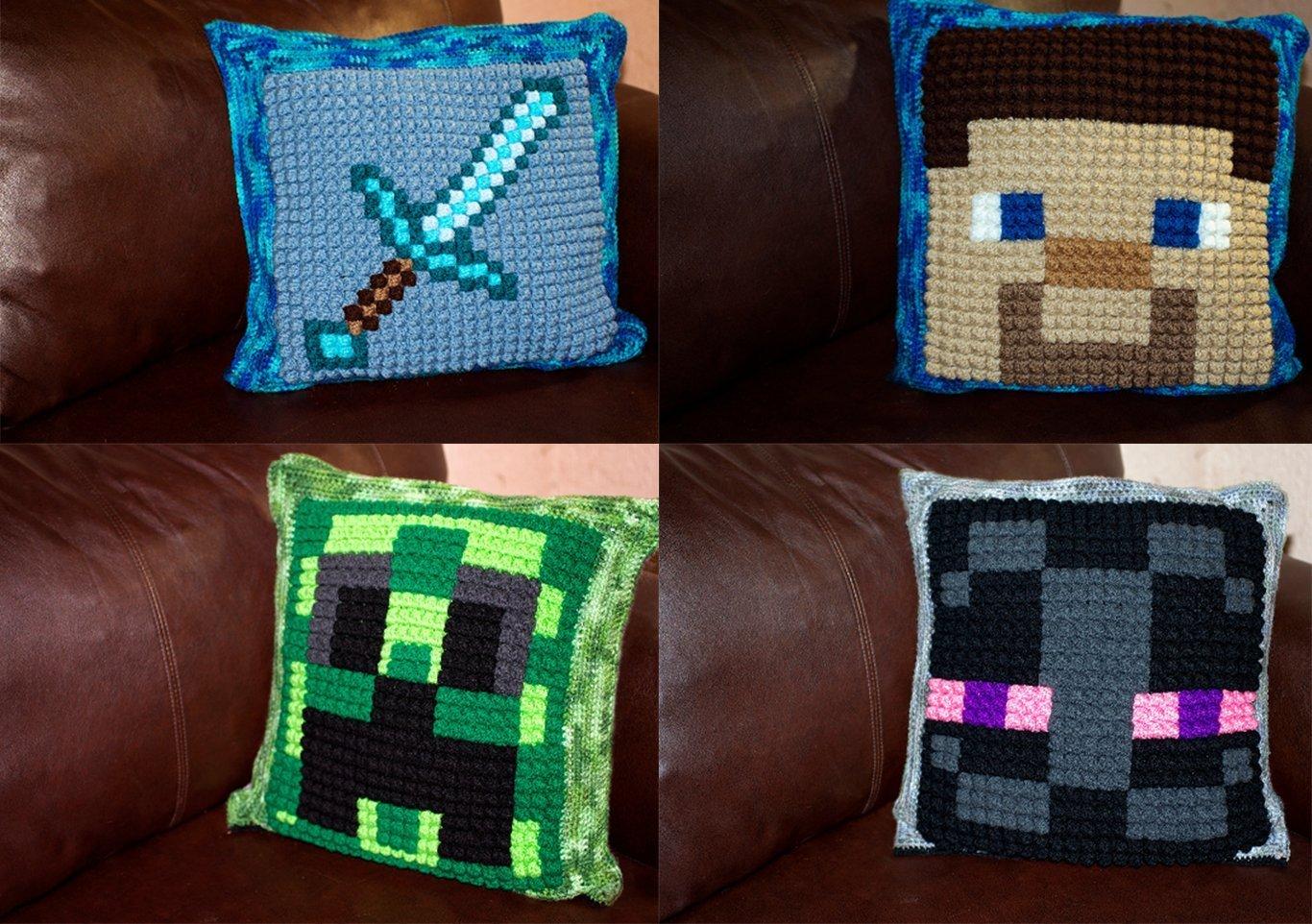 Amazon Crochet Minecraft Bobble Pillow Handmade