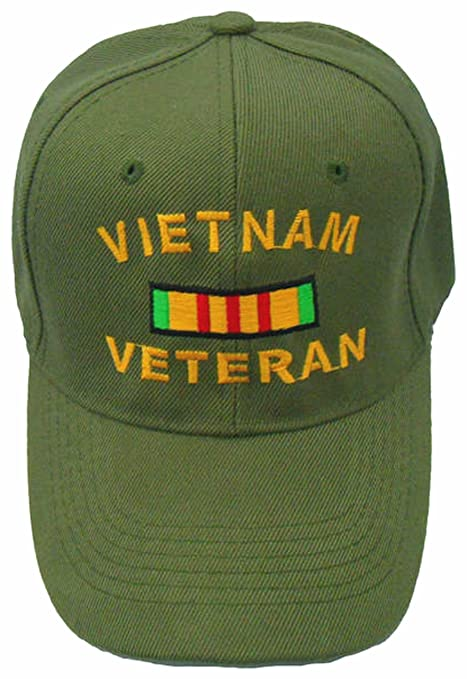 cf6635cb2ba Image Unavailable. Image not available for. Color  Vietnam Veteran Cap w   Bumper Sticker OD Green Vet Hat Army Navy Air Force Marine