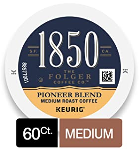 1850 Pioneer Blend, Medium Roast Coffee, K-Cup Pods for Keurig Brewers, 10 Count (Pack of 6)