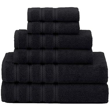 American Soft Linen Premium, Luxury Hotel & Spa Quality, 6 Piece Kitchen & Bathroom Turkish Towel Set, Cotton for Maximum Softness & Absorbency, [Worth $72.95] Black