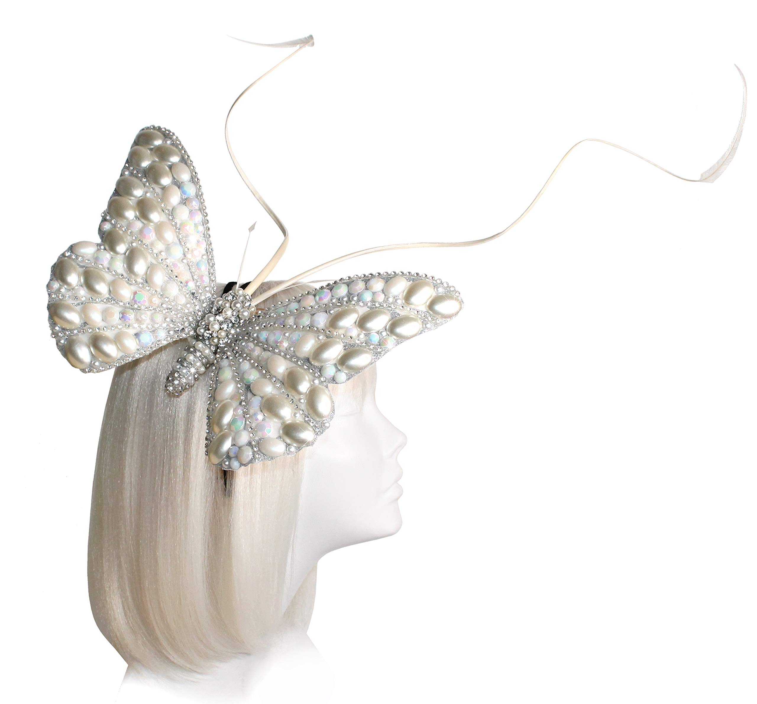 Mr. Song Millinery Papillon Profile Fascinator Headband AF59 (Pearl Opal)