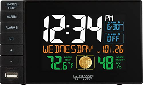 La Crosse Technology C87207 C87061 Color Dual Alarm Clock with USB Charging Port