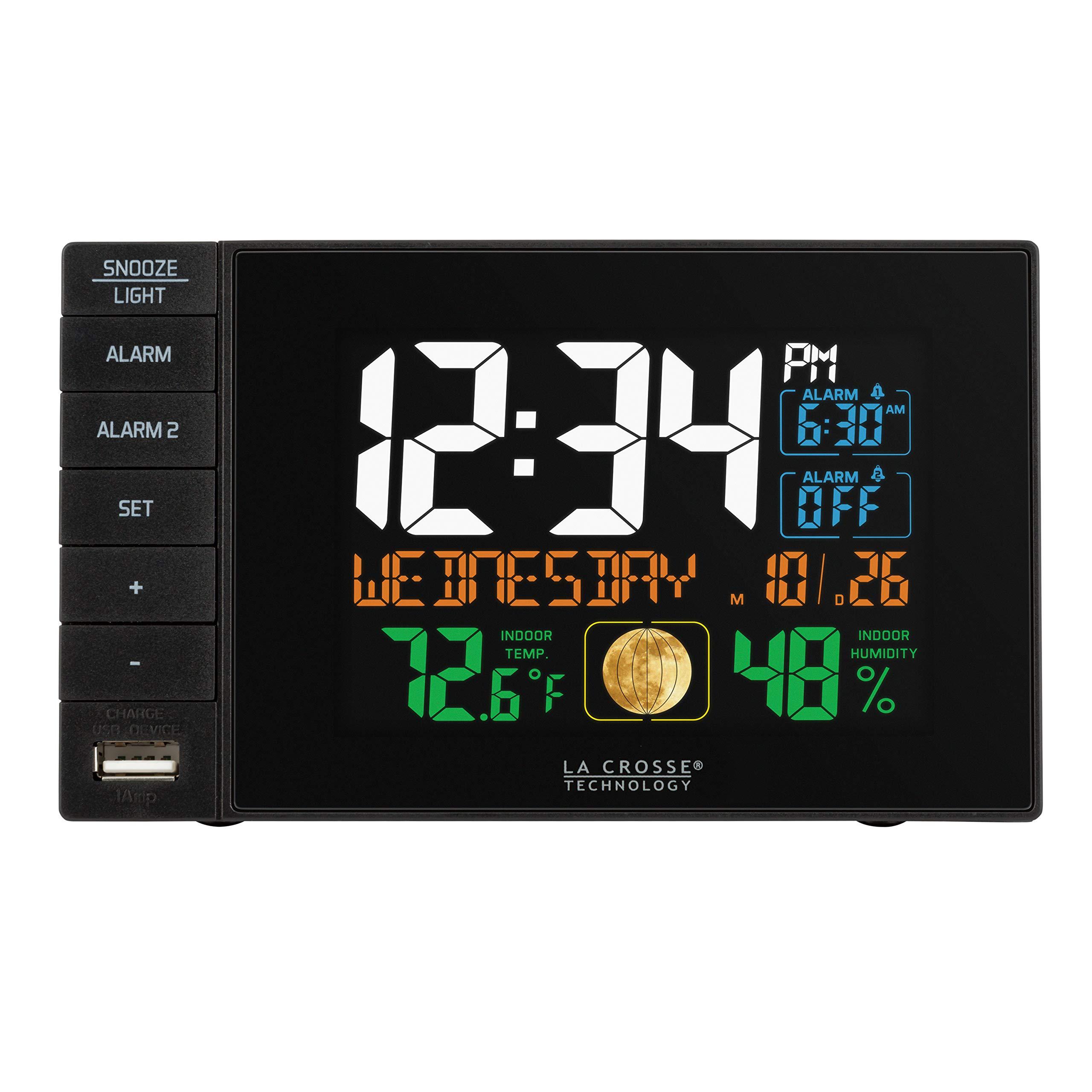 La Crosse Technology C87207 Color Dual Alarm Clock with USB Charging Port