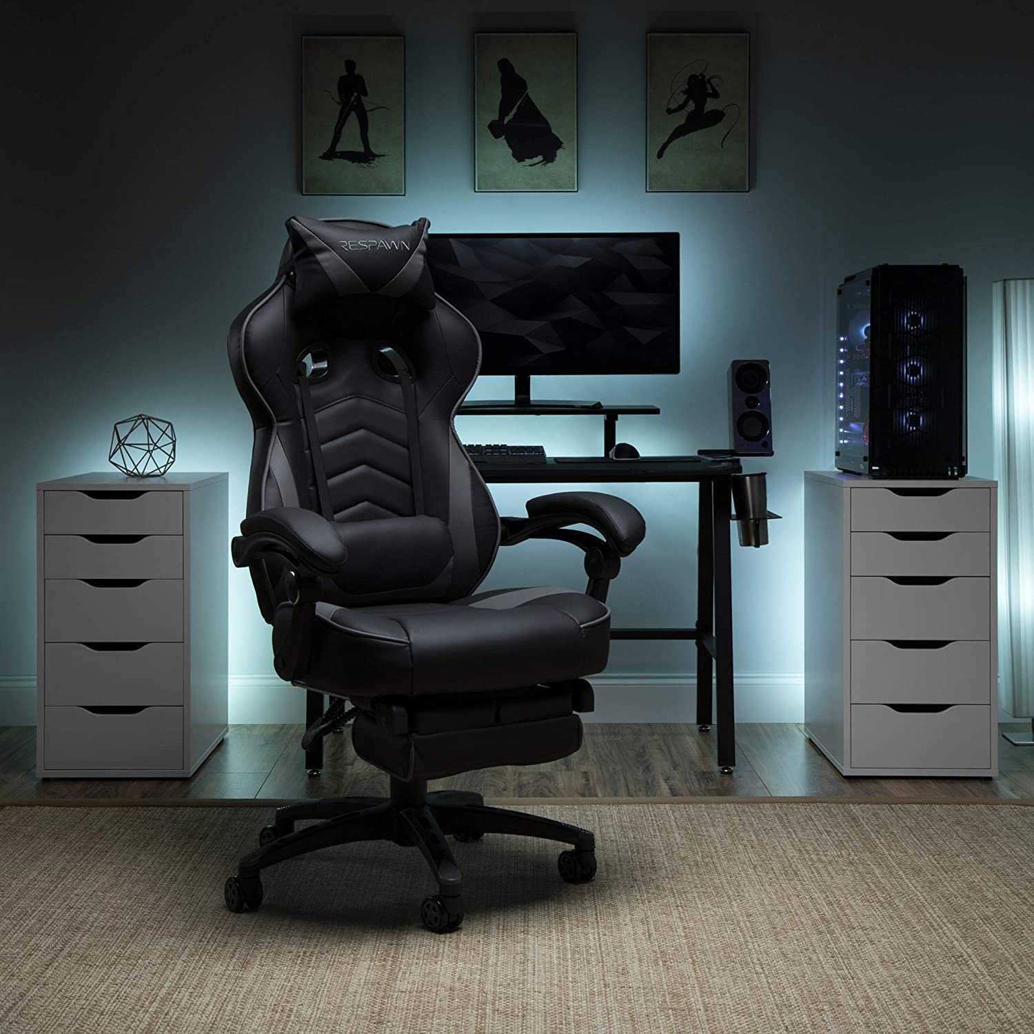 RESPAWN 110 Racing Style Gaming Chair, Reclining Ergonomic Leather Chair with Footrest