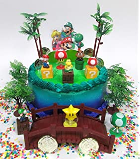 Super Mario Brothers Deluxe Game Scene Birthday Cake Topper Set Featuring Figures And Decorative Themed Accessories