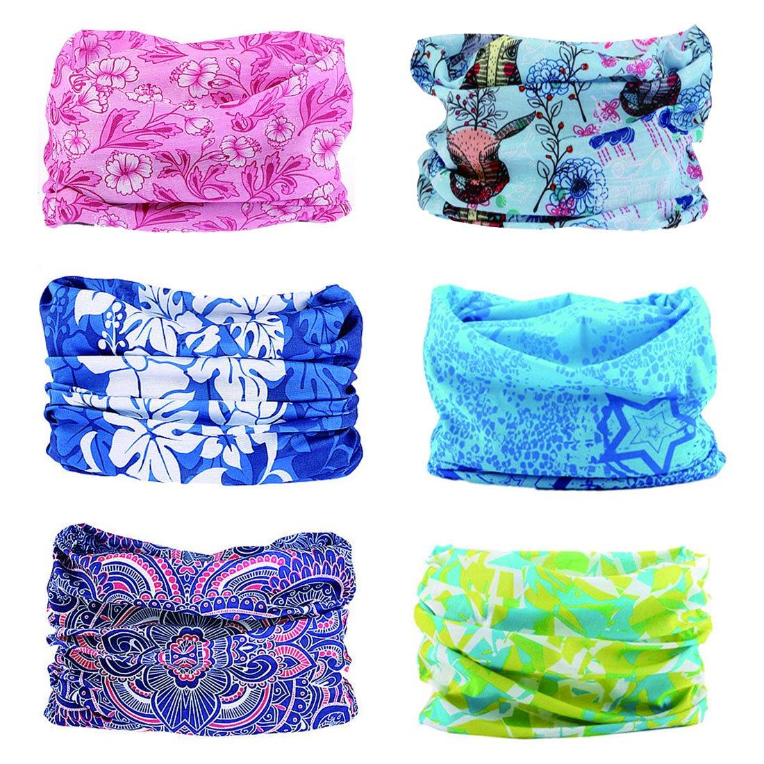 Toes Home 6PCS Outdoor Magic Headband Elastic Seamless Bandana Scarf UV Resistence Sport Headwear
