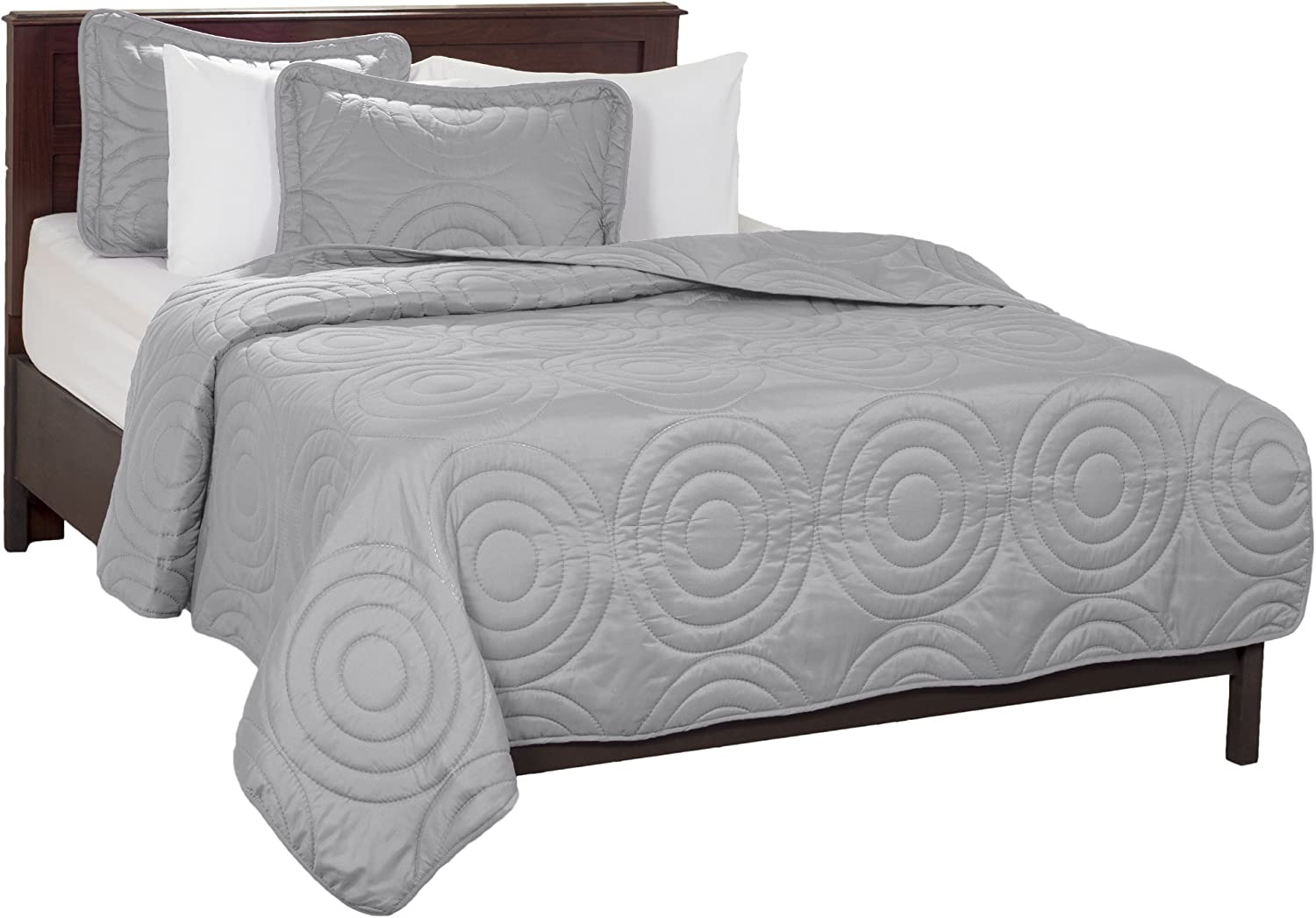 Lavish Home Solid Embossed 3 Piece Quilt Set - King - Silver