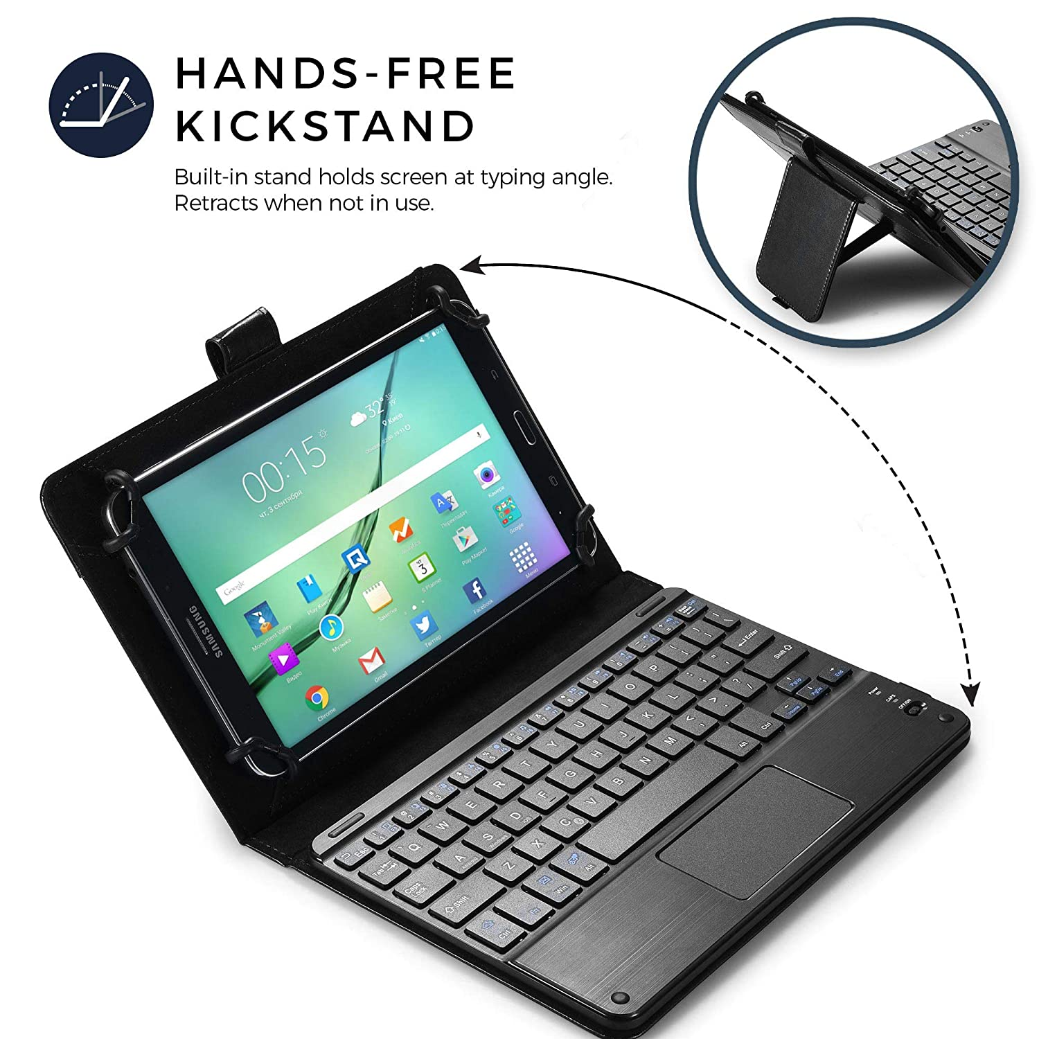 e3b00e8f68a Tesco Hudl 2 keyboard case, COOPER TOUCHPAD EXECUTIVE 2-in-1 Wireless  Bluetooth Keyboard Mouse Leather Travel Cases Cover Holder Folio Portfolio  + Stand ...