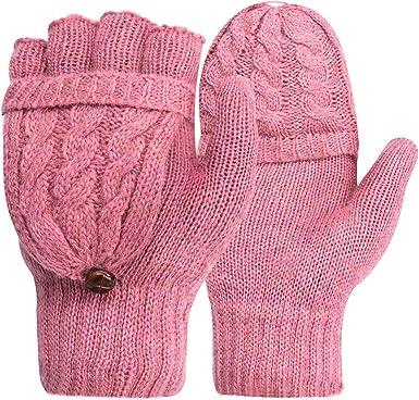 Toyssa 2 Pares Guantes Mujer Invierno Guantes Termicos de Punto Sin Dedos con Tapa Guantes Trabajo Frio para Mujer