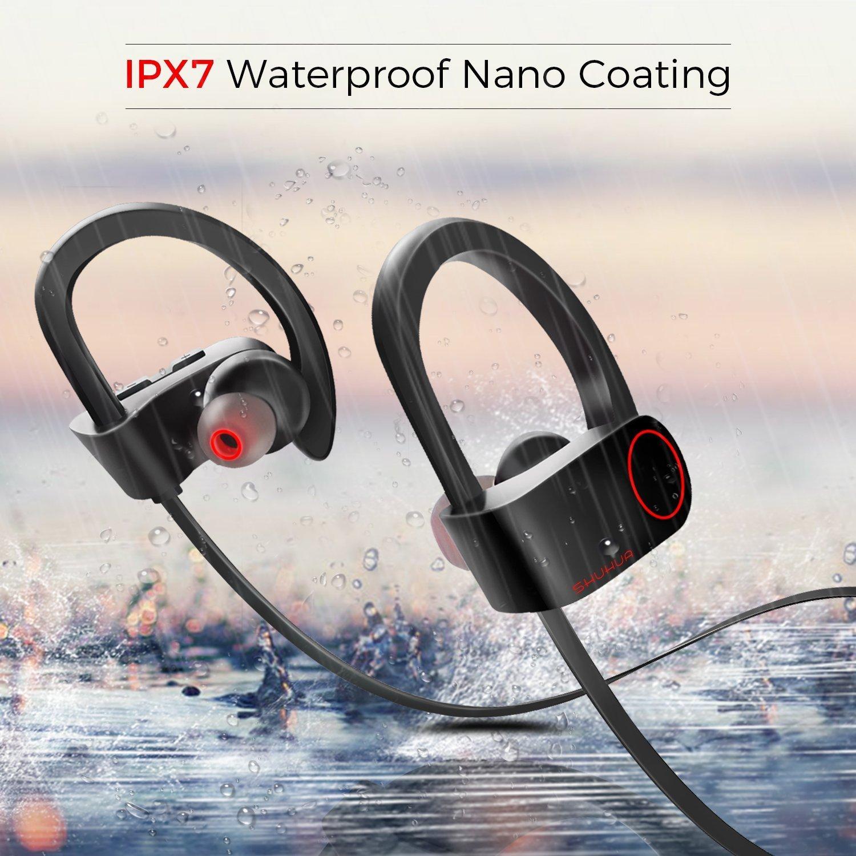 Conpush Auriculares Bluetooth Inalámbrico En el oido Auricular con micrófono para Gimnasio Corriendo Deportes (Rojo, IPX7, HD, 8 Horas): Amazon.es: ...