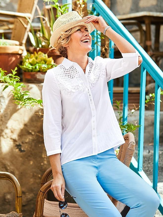 182ad01e64ce3e Just White Damen Hemdbluse Havanna, Kurzarm, in Normalen Größen, Einfarbig:  Just White: Amazon.de: Bekleidung
