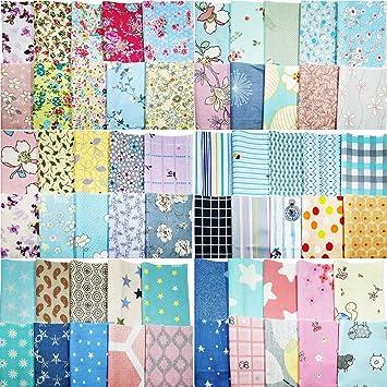 2eee7ee716f279 YXJD 240Pcs Baumwollstoff Patchwork Stoffe DIY Gewebe Quadrate Baumwolltuch  Stoffpaket zum Nähen mit vielfältigem Muster 10x10cm